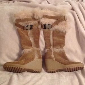 Coach Sharma Camel Suede Wedge Boot